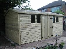 20x10 Tanalised Ultimate Apex Garden Shed/Office/Garage 13mm T&G