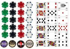Casino Vegas Poker Table Cards and Chips Edible Icing Decoration Free P+P