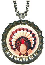 THANKSGIVING TURKEY BOTTLE CAP NECKLACE (CAP008a)