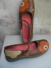 HISPANITAS MADE IN SPAIN MULTICOLORED LEATHER FLOWERED STRAPED SHOES 7,5-8