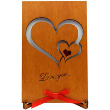 Real Wood love valentine romantic Card - Gift for him men women her (Two Hearts)
