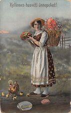 BC62104 husveti easter girl with egg chick  hungary