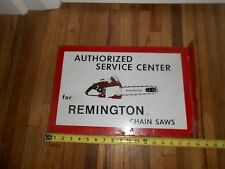 Antique OLD VINTAGE METAL REMINGTON CHAINSAW GAS OIL FLANGE ADVERTISING SIGN WOW