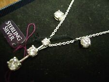 """NWT-  RADIENT CZ .925 STERLING SILVER 18"""" PENDANT NECKLACE PIERCED EARRING SET"""