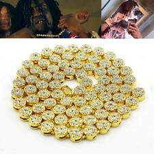 MENS ICEDOUT 14K YELLOW GOLD FINISH CUBIC ZIRCONIA FLOWER CLUSTER CHAIN NECKLACE