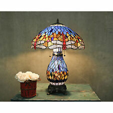 Tiffany Style Blue Dragonfly Table Lamp W/Illuminated Base  BUY 2 GET 10% EACH!