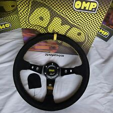 OMP STEERING WHEEL DEEP DISH 350MM UNIVERSAL BLACK SUEDE YELLOW STITCH SPARCO