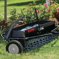 "Lawn Aerator Spreader Combo 40"" Tow Behind fertilizer grass seed lime hopper"
