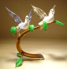 "Blown Glass ""Murano"" Art Figurine Bird White Pigeon Doves Birds on a Branch"