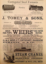 1896 Engineering Print Steam Cranes Boilers Furnaces Antique Advert Glasgow Bath