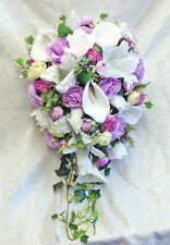 LAVENDER LILAC Cascade Bridal Bouquet Roses Calla Lilies Silk Wedding Flowers