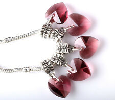 Exquisite 5pcs Silver CZ big hole Beads Fit European Charm Pendant Bracelet B244