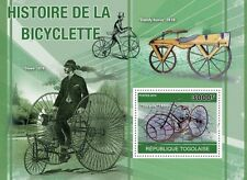 History of Bicycles Cycling Bicycle  Togo 2010 s/s Mi. Bl. 560 #TG10407b