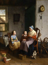 Nice Oil painting female portrait Grandmother wih children and pet cat in room
