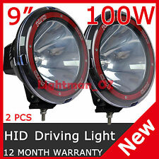 "PAIR 100W 9"" HID XENON OFFROAD Spotlight Driving Lights 9INCH WORK LAMP 4x4 4WD"