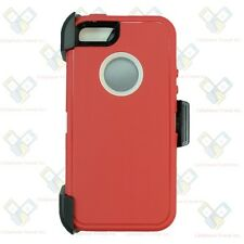 For Apple Iphone 5/5S/SE Defender Case Cover [Belt Clip Fits Otterbox] Red-White