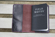 Handmade Leather Case Cover Simple Field Notes Moleskine Black Plum Horween