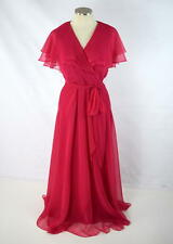 Vtg 1970s Fuchsia Pink Flowy Chiffon Sheer Layer Belt Evening Gown Maxi Dress 12