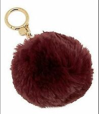 MICHAEL KORS FAUX FUR POM POM KEY CHARMS COLOR PLUM GOLD IN BOX 32F6GKCK1F