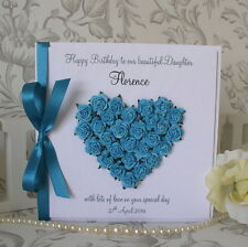 Birthday Card - Handmade, Personalised - Luxury Rose Heart - any colour - Boxed