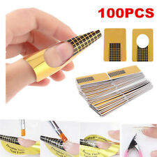 100Pcs French Nail Art Tips Extension Forms Guide DIY Tool Acrylic UV Gel Decor