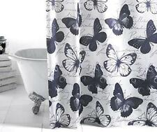 Bathroom Shower Curtain Butterflies Black & White New - UK Seller