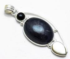 Iolite, Mother of Pearl, Black Onyx Pendant Solid 925 Silver Jewelry IP22397