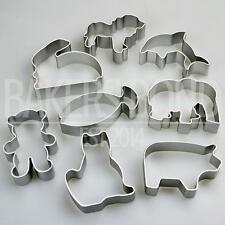 Animal Shapes Set of 8 Metal Cookie Cutters Dog Cat Rabbit Fish Bear Biscuit