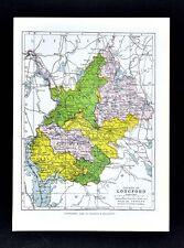 1899 Ireland Map - Longford County - Edgeworthstown Ballymahon Granard Drumlish