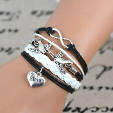 Handmade Silver Infinity Double Pigeon Bird Heart Letter Sister Leather Bracelet