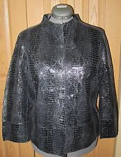 CHICOS Womens Reversible Leather Snakeskin Black Jacket Blazer NWT NEW Size 2 14