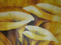 Abstract Yellow Flowers Floral Large Oil Painting Canvas contemporary Original