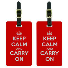 Keep Calm and Carry On Red Luggage Suitcase Carry-On ID Tags Set of 2