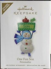 NIB 2010 HALLMARK KEEPSAKE CHRISTMAS ORNAMENT ONE FUN SON PERSONALIZE W/STICKERS