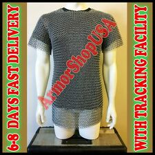 ALUMINIUM CHAINMAIL SHIRT BUTTED ALUMINUM CHAIN MAIL HAUBERGEON MEDIEVAL ASU97