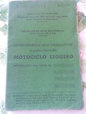 AUTORIZZAZIONE ALLA CIRCOLAZIONE VESPA 125  - IMMATRICOLATA 1952 -