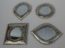 Hand Crafted* SET OF 4 MOROCCAN HAND TOOLED  MINIATURE METAL MIRRORS*