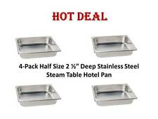 "4-Pack Half Size 2 1/2"" Deep Stainless Steel Hotel Steam Table Food Pans"