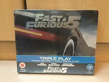 Fast and Furious 5 UK Blu Ray & DVD Steelbook Edition NEW