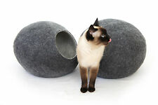 Cat cave bed,house,from 100% wool for pet, Kivikis . Color Dark Grey Size L.
