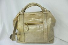 MIU MIU Huge Taupe Glazed Crocodile Croco Large Bag Tote Messenger Handbag Purse