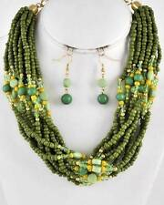 MULTI STRAND MULTI GREEN LUCITE AND GLASS BEAD GOLD TONE LINK NECKLACE EARRING