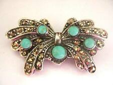 Sterling Silver Marcasite Turquoise Butterfly Brooch Vintage Art Deco look 1.5""
