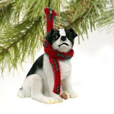 JACK RUSSELL dog HAND PAINTED ORNAMENT Figurine SMOOTH BLACK puppy CHRISTMAS New