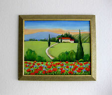 Tuscany Landscape Poppies Original Wall Art Oil Painting Framed Large Deco