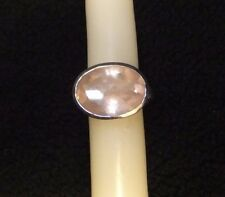 Sterling Silver Oval Rose Quartz Ring size 8