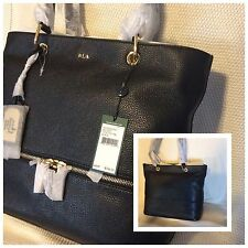 RALPH LAUREN MEYSEY Tumbled LEATHER TOTE $298 Black