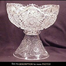 Antique Large 2pc ABP Brilliant Cut Glass Punch Bowl Vassar Pattern Straus Macy