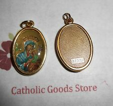 Our Lady of Perpetual Help Italian 1 inch Gold Tone and Enameled - Medal