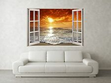 Sunset Tide Scene 3D Full Colour Window Home Wall Art Stickers Mural Decal